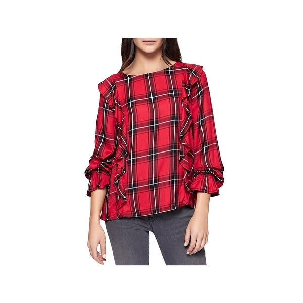 Sanctuary Womens Taylor Pullover Top Plaid Ruffled