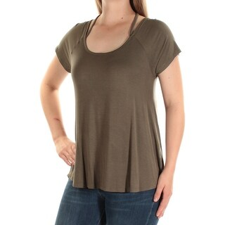 Womens Green Short Sleeve Scoop Neck Casual Top Size M