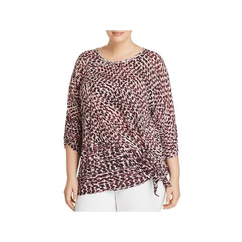 Nic + Zoe Womens Plus Ophelia Pullover Top Linen Blend Animal Print