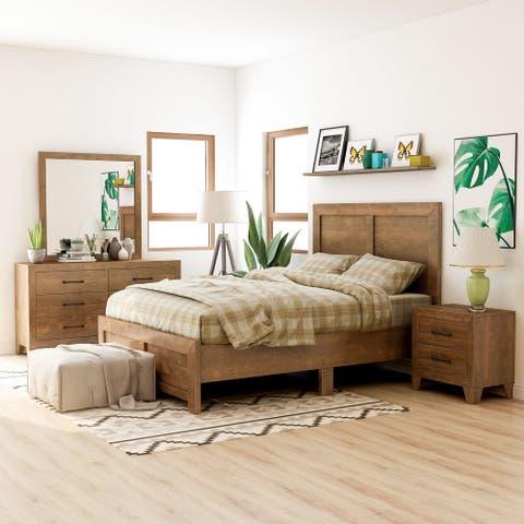 Furniture of America Loa Transitional Rustic Walnut 4-piece Bedroom Set