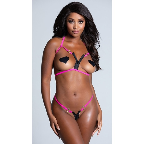 c53ed1a6b Shop Open Cup Pink Zipper Bikini, Open Cup Bikini - Neon Pink - One Size  Fits Most - Free Shipping On Orders Over $45 - Overstock - 18101705