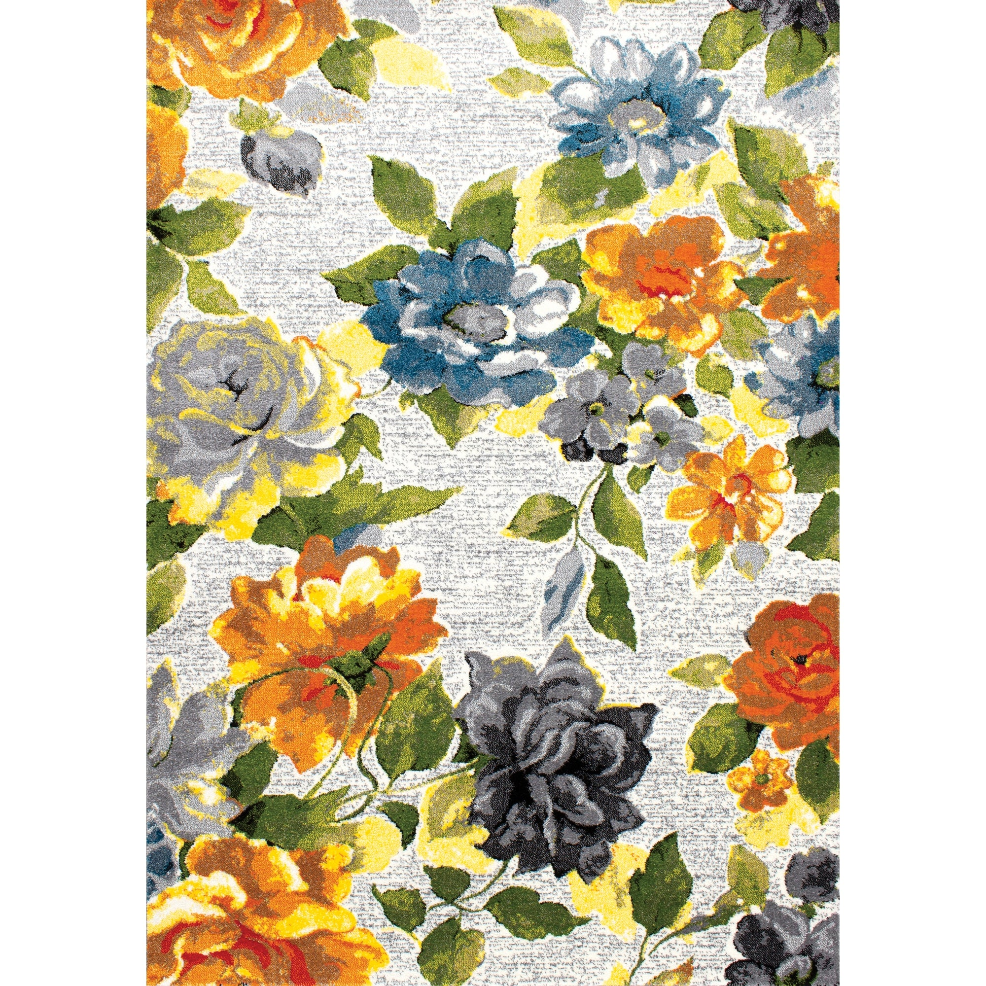 Kyla Grey Yellow Bright Floral Soft Low Pile Rug Overstock 31319379