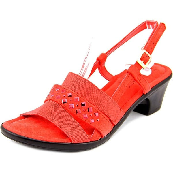 Easy Street Bruzio Women N/S Open-Toe Canvas Red Slingback Sandal