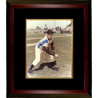 Bob Feller signed Cleveland Indians 8x10 Color Photo Custom Framed (Vertical-Pitching)