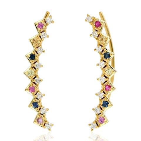 Natural Sapphire Ear Climber Earrings 18k Yellow Gold Diamond Jewelry