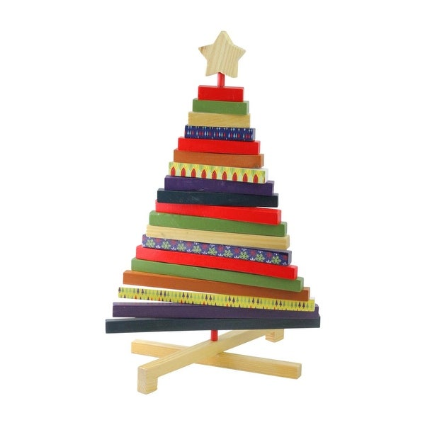 "15.5"" Adjustable Multi-Colored Wooden Decorative Christmas Tree Tabletop Decoration"