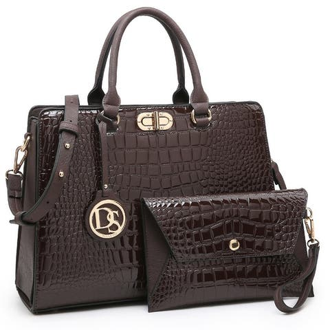 Dasein Croco PU Leather Satchel Handbag with Wristlet