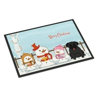 Carolines Treasures BB2337JMAT Merry Christmas Carolers Pug Black Indoor or Outdoor Mat 24 x 0.25 x 36 in.
