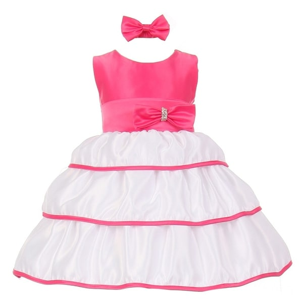 d21b653a1 Baby Girls Fuchsia Bow Rhinestone Headband Special Occasion Dress 3-24M