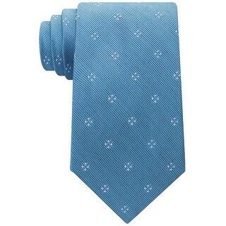 Michael Kors Aqua Blue Four Point Neat Men's Neck Tie Silk Accessory