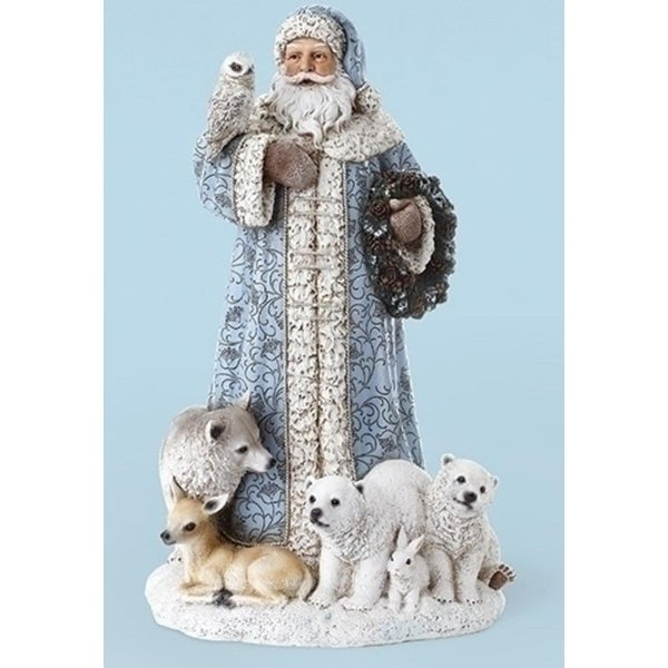 """16"""" Sky Blue Santa Claus Tabletop with Owl and Forest Animals Christmas Decoration"""