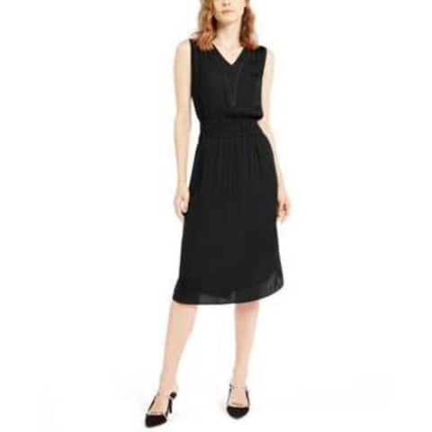 Alfani Women's V-Neck Smock Waist, Black, X-Small