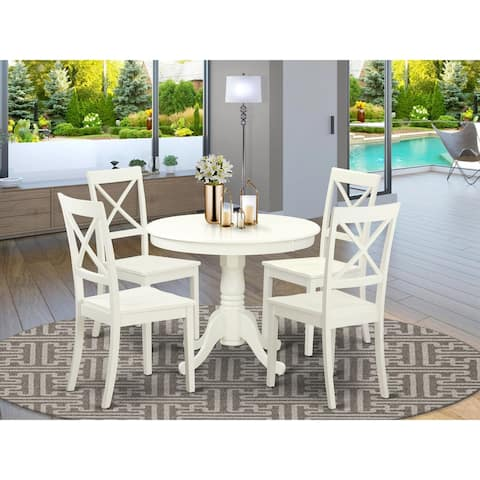 ANBO-LWH-W 3 PC set-Table and 2 Wood Kitchen Chairs in Linen White.