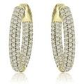 2.75 cttw. 14K Yellow Gold Round Cut Diamond Hoop Earrings - White H-I - Thumbnail 0
