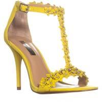 I35 Rosiee Flower T-Strap Sandals, Lemon