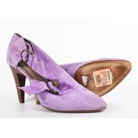 Roberto Cavalli Purple Suede Cut Out Bow Bootie