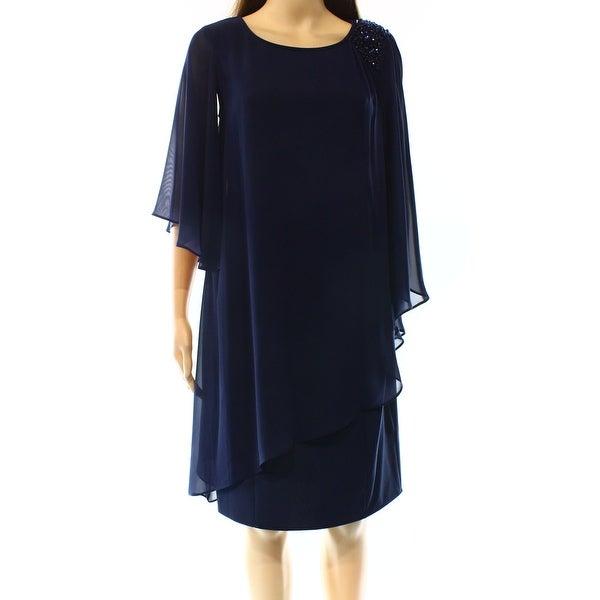 4d9178cb983e8 Shop SLNY NEW Navy Blue Womens 10 Overlay Chiffon Embellished Sheath Dress  - Free Shipping On Orders Over $45 - Overstock - 18948419