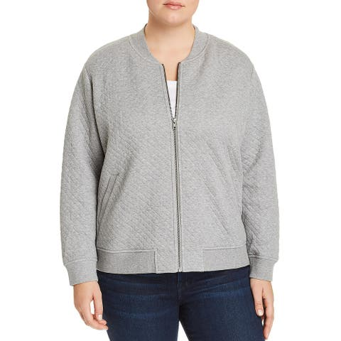Eileen Fisher Womens Plus Relaxed Jacket Knit Quilted - Moon