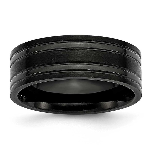 Black Titanium Grooved 8mm Brushed and Polished Band
