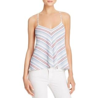 Olivaceous Womens Halter Top Striped Tie Back