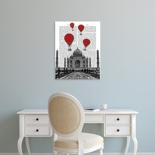 Easy Art Prints Fab Funky's 'Taj Mahal and Red Hot Air Balloons' Premium Canvas Art