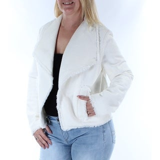MICHAEL KORS $195 Womens 1402 Ivory Fringed Pocketed Suit Casual Jacket 12 B+B