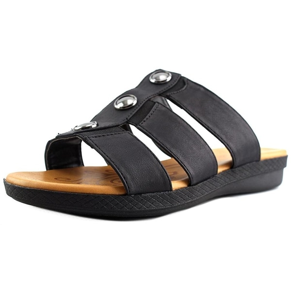 Easy Street Bide Open Toe Canvas Slides Sandal