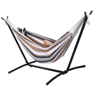 Costway Double Hammock with Space Saving Steel Stand Includes Portable Carry Bag