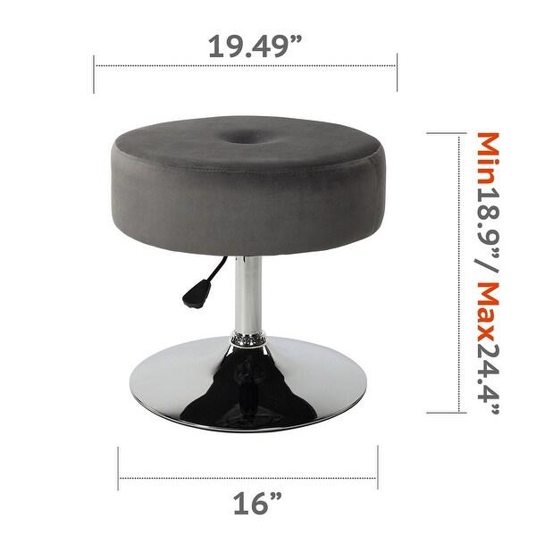 Art-Leon Round Adjustable Height Velvet Swivel Stool