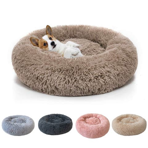 Soft Plush Round Pet Bed for Cats or Small Dogs Donut Sleeping Kennel
