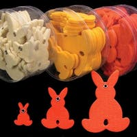 "Club Pack of 144 Orange Fuzzy Felt Bunnies in Assorted Sizes 1"", 2"", 3"""