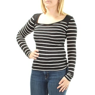 ENERGIE $16 Womens New 1068 Black White Striped Long Sleeve Top S Juniors B+B