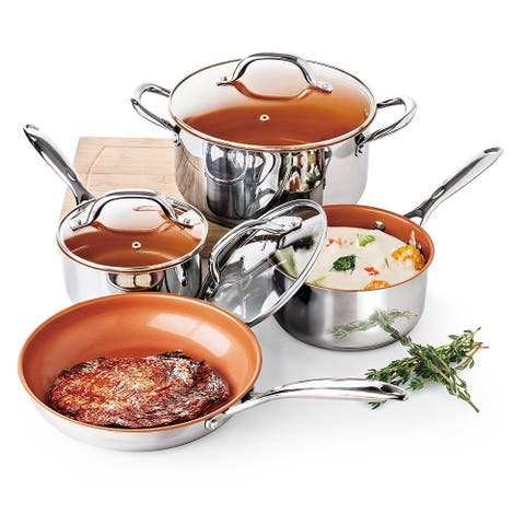 Culinary Edge CE2378 7 Piece Stainless Steel Cookware Set with Ceramic Titanium Copper Non Stick