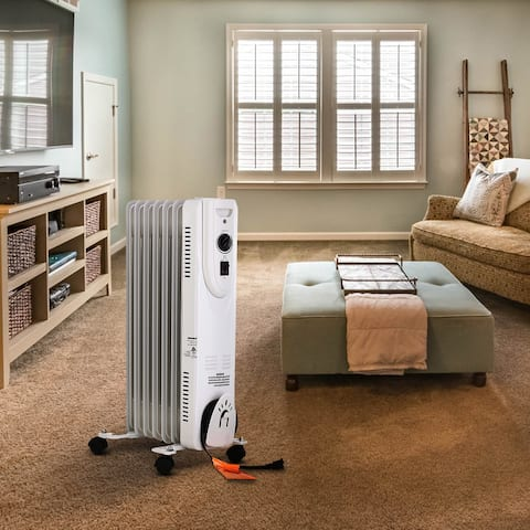Ainfox Oil Filled Radiator Heater with Remote Control 1500W 12hr Timer TIP-OVER Overheat protection WHITE