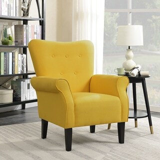Belleze Modern Linen Accent Chair Armrest Living Room w/ Wood Leg, Citrine Yellow