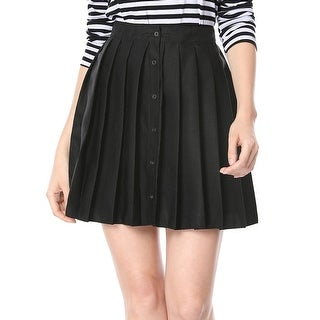 Women Pleated Button Closure Front Above Knee A-line Skirt - Black