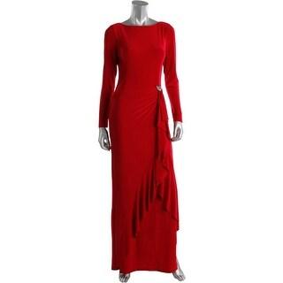 Ralph Lauren Womens Embellished Long Sleeves Evening Dress