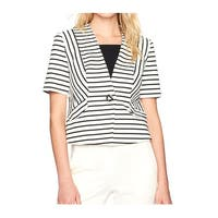 Nine West NEW White Women's Size 4 Striped Faux Pocket Ponte Jacket