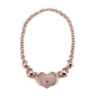 Rose Gold Tone XOXO Link Chain Heart Shape Pink Lab Diamonds Ladies 20 IN - Rose Gold