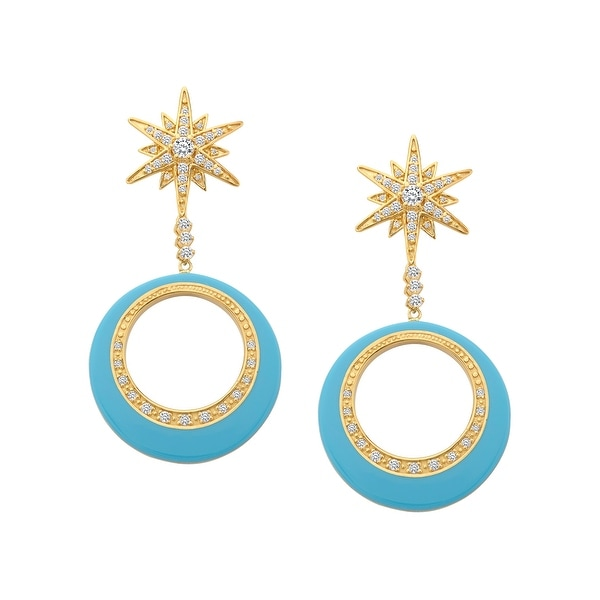 Cristina Sabatini Orbital Star Earrings with Cubic Zirconia in 14K Gold-Plated Sterling Silver