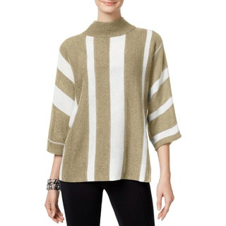 NY Collection Womens Pullover Sweater Knit Striped