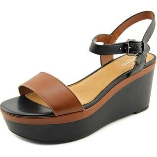 Coach Brittanie Women  Open Toe Leather Black Wedge Sandal