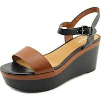 Coach Brittanie Women  Open Toe Leather Black Wedge Sandal