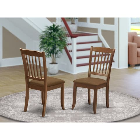 DAC-MAH-C Danbury Vertical Slatted Back Chairs with Linen Fabric Upholstered Seat in Mahogany Finish