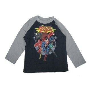 Marvels Little Boys Grey Navy Justice League Print Long Sleeved Shirt 2T-5