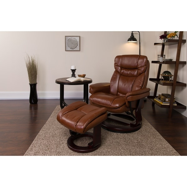 "Contemporary Multi-Position Recliner and Curved Ottoman with Swivel Base - 33""W x 34"" - 44.5""D x 41.25""H. Opens flyout."