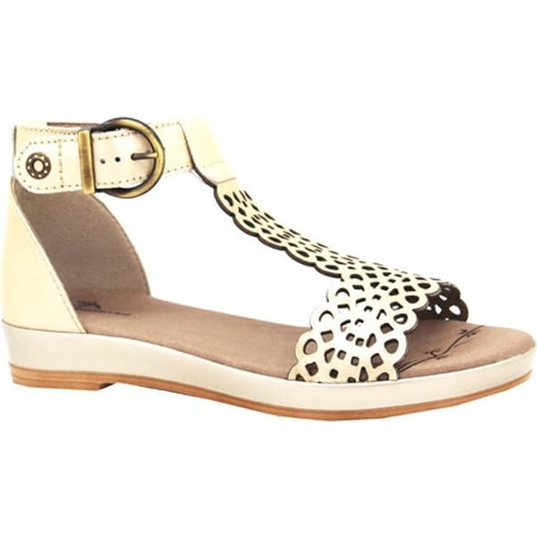 Dromedaris Women's Suri Quarter Strap Sandal Platinum Metalized Leather