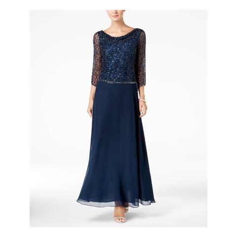 JKARA Womens Navy Beaded Gown 3/4 Sleeve Cowl Neck Maxi Evening Dress Size: 8