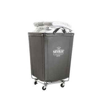 "Seville Classics Commercial Heavy-Duty Canvas Laundry Removable Basket Hamper with Wheels, 18.1"" D x 18.1"" W x 27.5"" H"