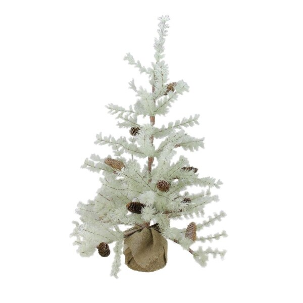3' Silent Luxury Frosted Green Pine Artificial Christmas Tree with Burlap Base - Unlit